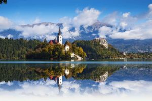 mountains reflection nature lake lake bled slovenia