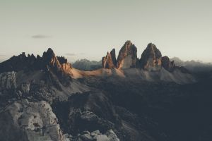 mountains rock formation soft sky alps tre cime di lavaredo landscape