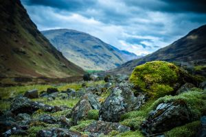 mountains rocks nature moss depth of field landscape