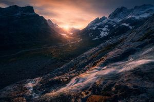 mountains sky creeks valley river snowy peak landscape greenland sunlight nature