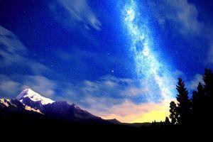mountains sky dark universe