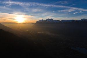 mountains sunlight nature landscape