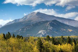 mountains trees landscape