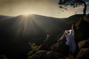 mountains trees women outdoors model nature sunset sunlight women white dress rock