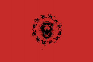 movies circle minimalism simple background red background