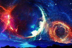 multiple display dual monitors space universe digital art