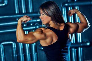 muscles rear view bodybuilder women fitness model