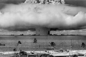 mushroom clouds monochrome atomic bomb