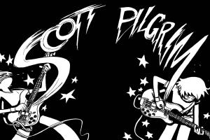musical instrument monochrome guitar cartoon scott pilgrim
