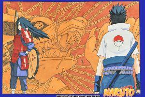 naruto shippuuden uchiha madara uchiha sasuke sharingan manga chains kyuubi