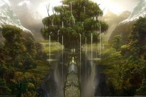 nature artwork landscape fantasy art trees digital art