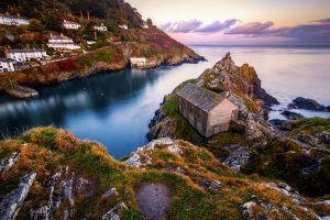 nature bay landscape village england coast sea