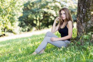 nature brunette model women women outdoors blue eyes