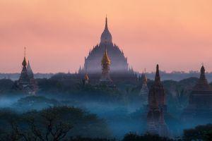 nature buddhism sunlight temple landscape mist tropical forest blue architecture myanmar
