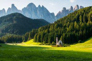 nature chapel landscape building mountains