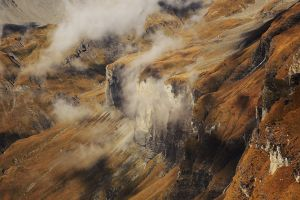 nature cliff aerial view mountains landscape creeks clouds