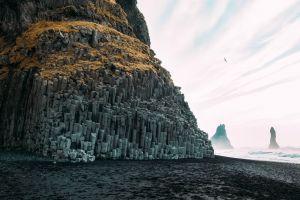 nature cliff beach landscape iceland