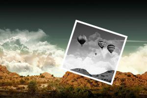 nature clouds digital art hot air balloons rock