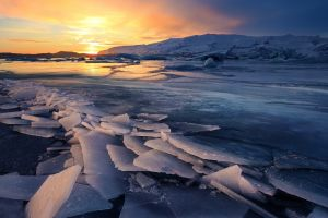 nature clouds reflection landscape mountains glaciers water iceberg winter snow frozen lake iceland sunset ice