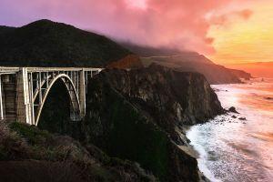 nature clouds sunset bridge landscape mountains