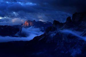 nature dark dolomites (mountains) italy sky mountains