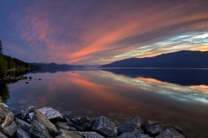 nature evening clouds trees canada sunset reflection british columbia water hills landscape stones forest horizon lake