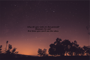 nature evening quote night orange sunset universe stars