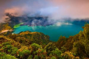 nature forest indonesia lake turquoise mountains water clouds landscape