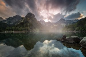 nature forest mist clouds sky landscape lake water mountains reflection