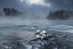 nature frost snow landscape mist winter morning cold river