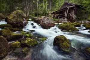 nature grass watermills river