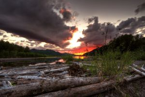 nature hills sunset wood hdr clouds lake reflection water plants landscape forest mountains dead trees long exposure