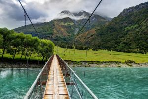 nature landscape bridge mountains suspension bridge