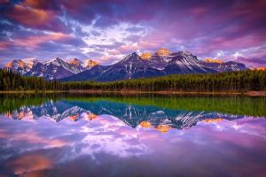 nature landscape clouds water mountains canada lake reflection forest snowy peak calm