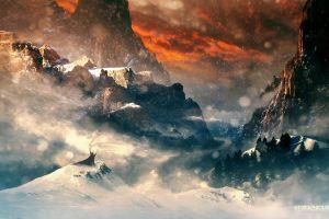 nature landscape fantasy art mountains the hobbit snow