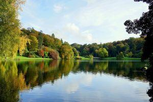 nature landscape garden lake stourhead bridge