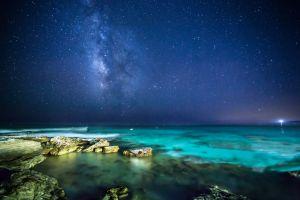 nature landscape stars night sea