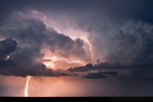 nature lightning landscape storm clouds horizon