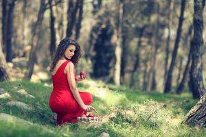 nature long hair baskets model women outdoors red dress women apples trees grass field brunette