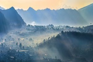 nature mist village sun rays landscape mountains forest trees indonesia valley