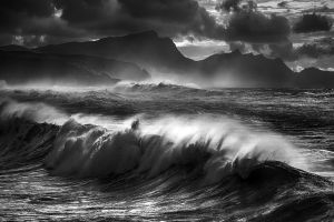 nature monochrome wind coast landscape mountains sea beach waves clouds water