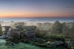 nature morning park mist landscape plains