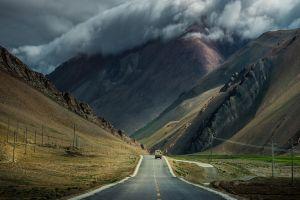 nature mountains clouds landscape road