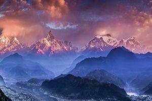 nature mountains landscape sky clouds himalayas sunset nepal mist valley villages blue snowy peak