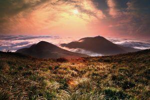 nature orange sky mountains clouds landscape