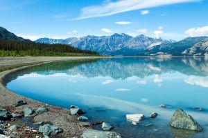 nature pine trees lake photography mountains reflection