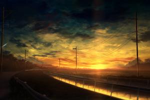 nature power lines canal clouds road artwork digital art landscape fence sky sunset