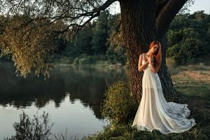 nature redhead white dress model women outdoors women