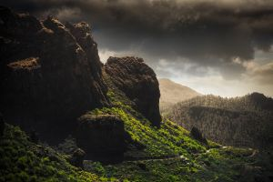nature rock grass mountains