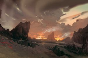 nature rock landscape sky artwork